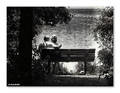 Benched Old Love (TooLoose-LeTrek) Tags: bw love nature bench pond center monotone romance elderly lovebirds