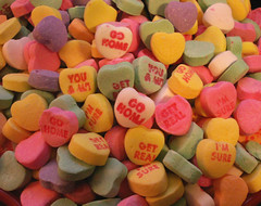 Nobody Loves Me!  The Valentine Nightmare. (Sister72) Tags: valentine nightmare gohome getreal valentinehorror wheresthelove hearts valentines sweethearts necco candy sweets pink yellow white green purple pastels sugar disappointment sad whyme february14 feb14 21406 holiday thepleasuresofthetext