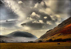 . A Cold Sunday in November . (3amfromkyoto) Tags: 2005 uk morning november england sky cloud mist lake mountains cold water grass weather clouds wow landscape early sheep head near district sunday lakedistrict cumbria coming unsettled wast skyplay wasdale yewbarrow illgill 3amfromkyoto flickr:user=3amfromkyoto