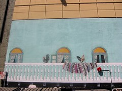 Mural, Sacramento, California (hanneorla) Tags: california 2004 architecture modern mural skyscrapers sacramento sculptures highrises hanneorla