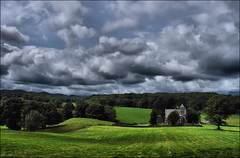 . Town End . (3amfromkyoto) Tags: uk blue trees summer england sky cloud lake tree green 2004 church clouds rural wow landscape countryside town near district lakedistrict july cumbria end far sawrey 3amfromkyoto flickr:user=3amfromkyoto