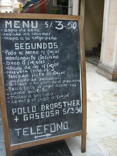 Peruvian chalk menu