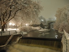Bear Creek (snapstill studio) Tags: new nightphotography winter snow up night river frozen waterfall fishing stream michigan north salmon fresh lakemichigan upnorth freshsnow petoskey northernmichigan littletraversebay salmonstream snowlinedbranches martinmcreynolds nikonstunninggallery