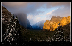 Yosemite Sunset Breaking Light (jimgoldstein) Tags: california blue winter sunset cliff usa white snow storm black tree nature yellow pine forest landscape gold photo waterfall nationalpark searchthebest snowstorm cyan valley yosemite threesisters halfdome fv10 yosemitenationalpark bridalveil elcapitan ponderosa magichour tunnelview bridalveilfall naturesfinest magiclight blueribbonwinner highway41 mountainlight specnature jmggalleries anawesomeshot colorphotoaward impressedbeauty jimmgoldstein isawyoufirst best2007 goldenphotographer diamondclassphotographer flickrdiamond frhwofavs