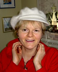 Trudy trying on Amys hat (ChrissieWiz) Tags: wales welsh trudy