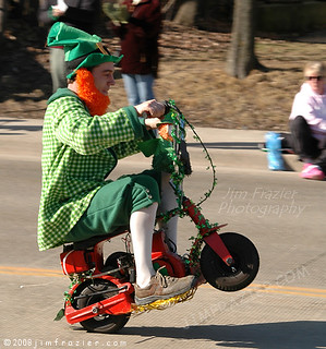 Every self-respecting St. Patrick's Day parade has to have a leprechaun popping wheelies on a mini-bike.