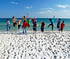 MISSISSIPPI (shibby lauren) Tags: sea people usa beach gulfofmexico students america mississippi fun happy us jump sand unitedstates arms legs group alabama teenagers ambassadors crazykids dauphinisland bridgwatercollege hindscollege