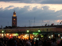 Djemaa El-Fna (oledoe) Tags: light dusk minaret mosque morocco marrakesh masjid koutoubia djemaaelfna   0tagged set:name=200704marrakesh set:name=200704morocco
