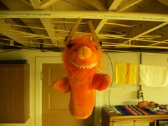 Day 77 (helixdmonster) Tags: orange monster puppets laundry hanging helix clotheslines handpuppets msh0407 monsterhandpuppets helixdmonster 365interspecies msh04076