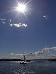 Sailing (Dag4) Tags: blue sea sky sun sunlight sunshine clouds sailboat sailing coastline fjord supershot