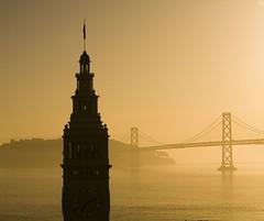 San Francisco Bay Bridge & Ferry Building at Sunrise (Bill in DC) Tags: sf sanfrancisco sunrise bridges baybridge 2007 eos5d canon2470mmf28lusm diamondclassphotographer flickrdiamond ferrybuildiing