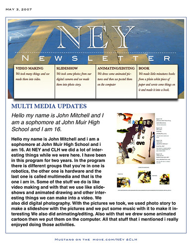 Newsletter #1 for Mustangs
