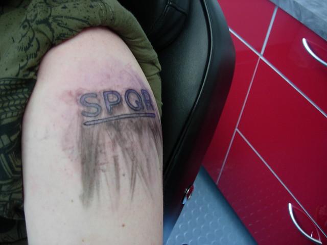 My classics oriented tattoo (SPQR - Senatus Populus Que Romanus) in a shiny