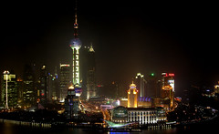 CHINA - Shanghai - Pudong by night (Franck -  - ) Tags: world china city blue light red sky urban reflection building tower night skyscraper town high asia long exposure view shanghai searchthebest jin illumination center mao pearl   rise pudong  trade financial  jinmao  chine                 colorphotoaward diamondclassphotographer flickrdiamond
