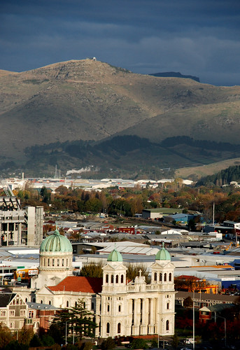 Catholic cathedral and Port Hills, Christchurch, NZ