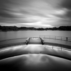 Chew Valley Lake II (Adam Clutterbuck) Tags: uk longexposure greatbritain england blackandwhite bw lake west water monochrome square landscape mono blackwhite somerset bn reservoir valley elements gb blogged chew bandw sq limitededition weir intake mendip mendips weirs chewvalleylake greengage adamclutterbuck harptree sqbw bwsq showinrecentset westharptree herriottsbridge shortedition le50 limitededition50