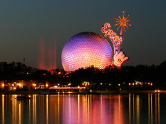 Spaceship Earth (olvwu | ) Tags: usa lake reflection fountain night orlando epcot globe colorful florida dusk disney fl waltdisneyworld epcotcenter waltdisney spaceshipearth magicwand jungpangwu oliverwu oliverjpwu flickrexplore explored flickrspecial olvwu jungpang