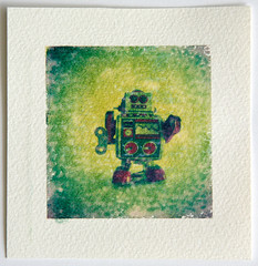 Polaroid transfer (Cea tecea) Tags: toy polaroid robot pinhole sunflower transfer type89 transferonpaper