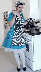 Day 112 of 365 (evaxebra) Tags: selfportrait cooking kitchen eva cook apron stove zebra 50s 365 housewife 1950 day112 ewa bluedress cwd xebra 365days cwdgs evaxebra pruska cwd191 cwdweek19 cwdgs19 ewapruska