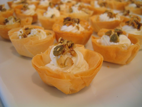 goat cheese mousse tartlets with candied pepitas