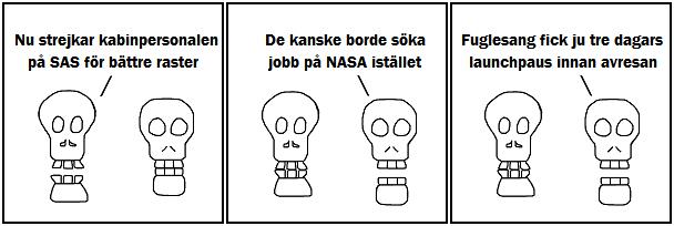 Nu strejkar kabinpersonalen på SAS för bättre raster; De kanske borde söka jobb på NASA isätllet; Fuglesang fick ju tre dagars launchpaus före avresan