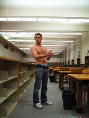oIMG_1460 (raycadaster) Tags: shirtless paul library redneck poortaste scantily