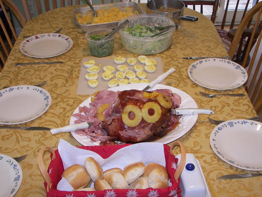 Easter dinner featuring baked ham