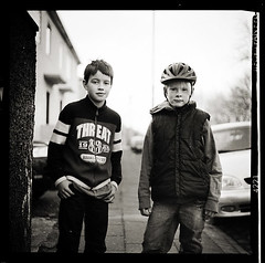 Boys (magnusmagnus) Tags: street camera summer portrait bw boys mediumformat outside iceland helmet young kiev reykjavk ilford panf 88cm