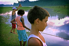 Contemplation... (carf) Tags: poverty boy sunset brazil lake boys water brasil kids reflections children hope evening kid fishing community support paradise child risk sundown esperana social impoverished underprivileged altruism eldorado reservoir development prevention cristian billings atrisk vando mundouno cleison
