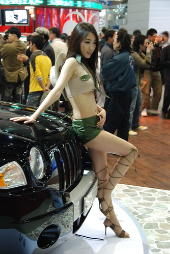 Jeep and Hot Brunette Asian Model