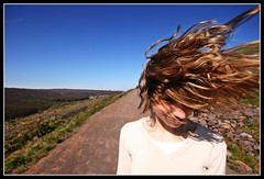 Wind Path (color) (hannes.trapp) Tags: sky anna woman sun girl canon hair way eos hannes model path himmel shooting sonne stylish weg saar saarland haare trapp haar fischbach slagheap modelshoot terril halde sigma1020 400d hannestrapp