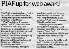 PIAF up for web award - The West Australian