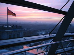 reichstag sunset too (spanglebunny) Tags: sunset november2005 berlin reichstag normanfoster cupola