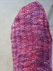 Sangria Socks - Top Foot View Garter Rib