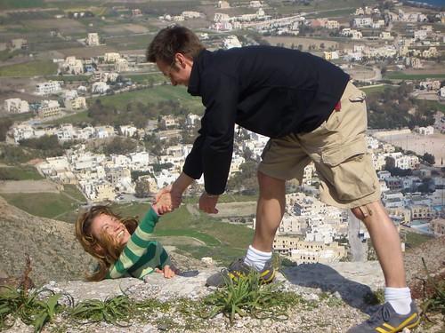 Climbing on Santorini