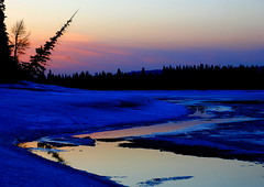 Calgary Resevoir (stevenbulman44) Tags: sunset snow reflection calgary eye ice beauty spring bravo alberta reflexions resevoir wate naturesfinest thebestbravo beautyisintheeyeofthebeholder mywinners colorphotoaward ultimateshot diamondclassphotographer acelebrationoflight amazingalberta