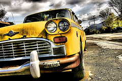A big yellow taxi took my girl away (Desolate Places) Tags: yellow cab 1966 valley co hudson roadside processed checkered hdr jonimitchell countingcrows bigyellowtaxi itsbeenawhilesinceididastraighthdrshot
