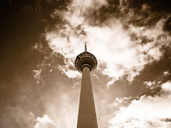 Seems to be tall... (manganite) Tags: windows sky berlin monochrome sepia clouds digital buildings germany geotagged nikon europe tl towers perspective monotone alexanderplatz d200 nikkor dslr toned mitte televisiontower tvtowers 18200mmf3556 monochromia utatafeature manganite nikonstunninggallery ipernity challengeyou challengeyouwinner date:year=2007 geo:lat=52520758 geo:lon=13409983 date:month=april date:day=11
