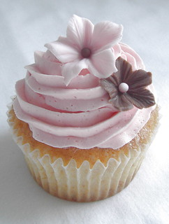 Pretty pink cupcake close up