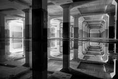 hall of mirrors I (rustyjaw) Tags: reflection abandoned water condemned factory urbandecay columns urbanexploration usnavy hdr mareislandnavalshipyard building866