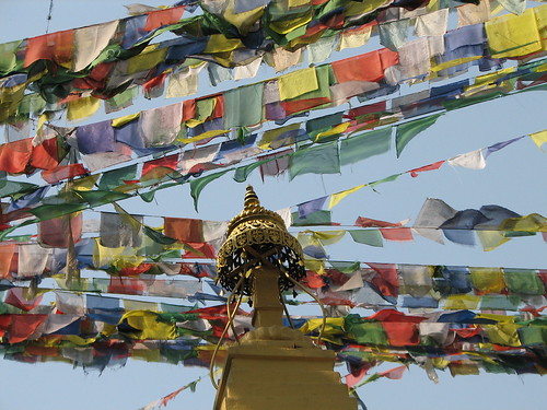 Prayer flags over Swayambunath (Monkey) Temple