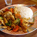 Stir fried garlic and pepper chicken with rice from Newtown Thai