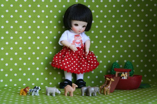 Aiko with miniature Noah's Ark set