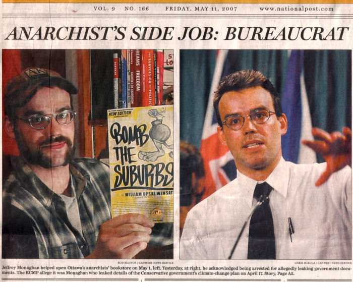 Jeffrey Monaghan, left, opening anarchist bookstore, and right, as a bureaucrat who leaked details of a government climate change plan.