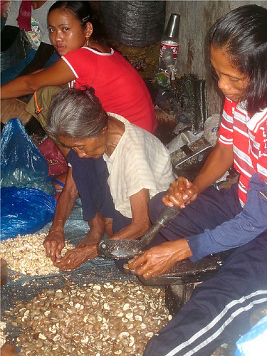 Philippines Pinoy Filipino Pilipino Buhay Life people pictures photos life rural rural woman, working, family, shelling  sitting cashew kasoy girl