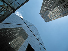 Reach For The Sky (shutterBRI) Tags: nyc newyorkcity blue sky newyork reflection glass up architecture canon buildings photography photo high skyscrapers manhattan thecity angles ibm powershot lookup business tall angular 2007 a630 shutterbri challengeyouwinner brianutesch flickrchallengegroup flickrchallengewinner photofaceoffwinner pfogold brianuteschphotography