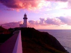 Cape Byron Lighthouse @ Sunrise (Monique Barber) Tags: ocean pink sunset sea lighthouse beach water sunrise australia byron byronbay capebyron colorphotoaward pinkforthecure