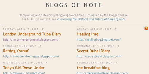 Blogger's blogs of note