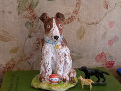 Dog (Julie Whitmore Pottery) Tags: sculpture dog faience mutt brownandwhitedog countrypottery