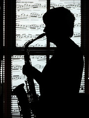 Saxophonist Silhouette (Patrick Costello) Tags: silhouette project d50 bravo searchthebest script angela sax saxophone